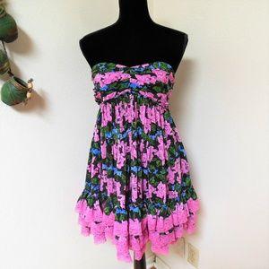 Betsey Johnson Floral Strapless Dress
